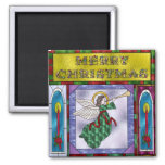 Stained Christmas Angel Refrigerator Magnet