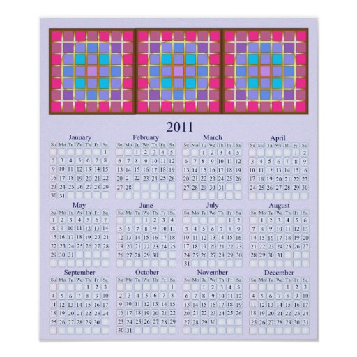 Stained-glass 2011 Wall Calendar Poster