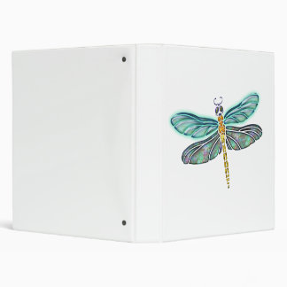 Stained Glass & Abalone Shell Dragonfly 3 Ring Binder