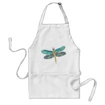 Stained Glass & Abalone Shell Dragonfly Adult Apron
