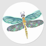 Stained Glass & Abalone Shell Dragonfly Classic Round Sticker