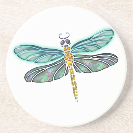 Stained Glass & Abalone Shell Dragonfly Coaster