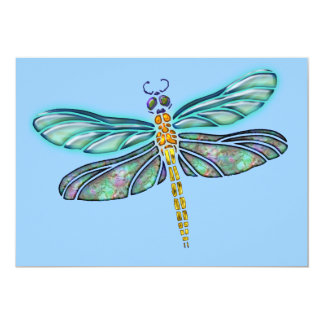 Stained Glass & Abalone Shell Dragonfly Personalized Announcements