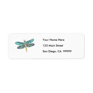 Stained Glass & Abalone Shell Dragonfly Return Address Labels