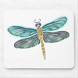 Stained Glass & Abalone Shell Dragonfly Mouse Pad
