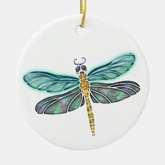 Stained Glass & Abalone Shell Dragonfly Ornaments