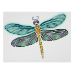 Stained Glass & Abalone Shell Dragonfly Poster