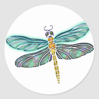 Stained Glass & Abalone Shell Dragonfly Stickers