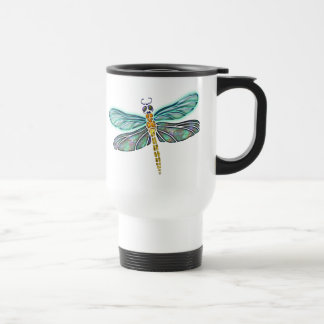 Stained Glass & Abalone Shell Dragonfly Travel Mug