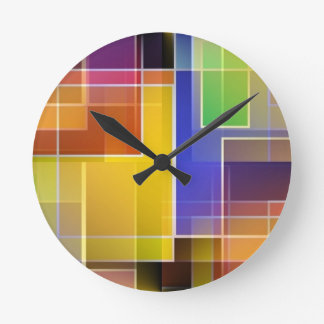 Stained glass abastract round clocks