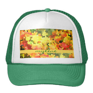 Stained Glass Abstract Autumn Maple Leaves Orange Trucker Hats
