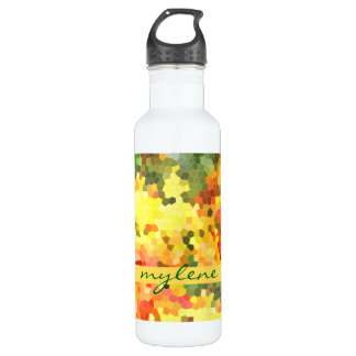 Stained Glass Abstract Autumn Maple Leaves Orange Water Bottle