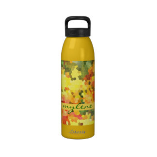 Stained Glass Abstract Autumn Maple Leaves Orange Reusable Water Bottles