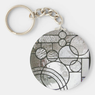 Stained Glass  Abstract Circle square clear Keychain