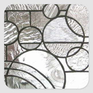 Stained Glass  Abstract Circle square clear Square Sticker
