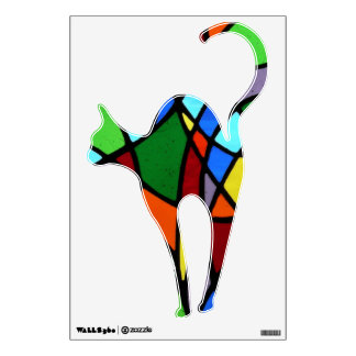 Stained glass abstract colourful Cat....wall decal