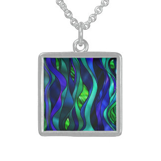 Stained Glass Abstract Sterling Silver Necklace