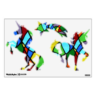 Stained glass abstract Unicorns....wall decal