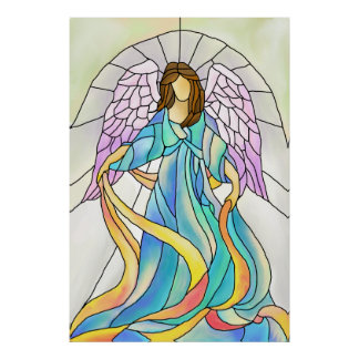 Stained Glass Angel Art Print