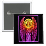 Stained Glass Angel Button