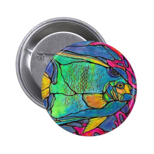 Stained Glass Angel Fish 2 Inch Round Button
