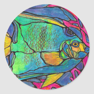 Stained Glass Angel Fish Classic Round Sticker