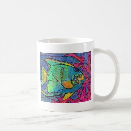 Stained Glass Angel Fish Classic White Coffee Mug