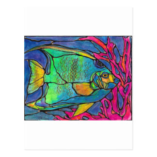 Stained Glass Angel Fish Postcard
