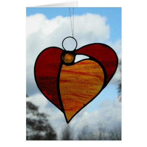 Stained glass Angel Heart Card