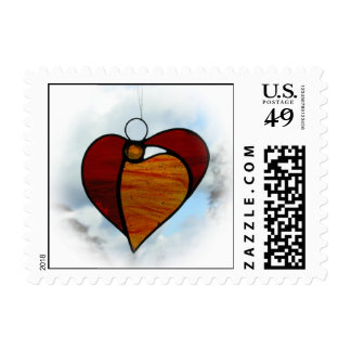 "Stained glass ""Angel Heart"" postage stamp"