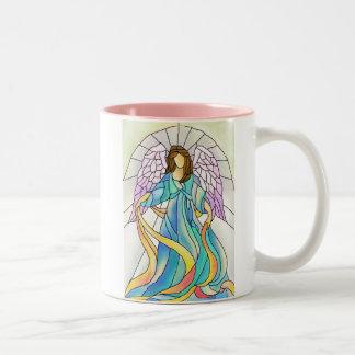 Stained Glass Angel Two-Tone Coffee Mug
