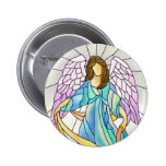 Stained Glass Angel Pinback Button