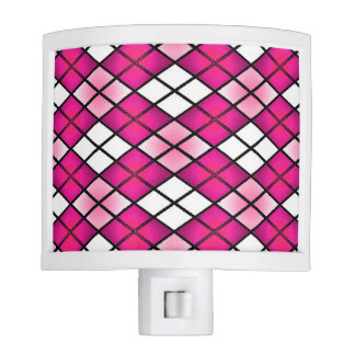 """Stained Glass"" Argyle Hot Pink Night Light"