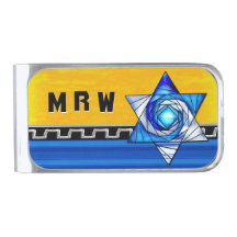 Stained Glass Art Deco Magen David (Monogrammed)