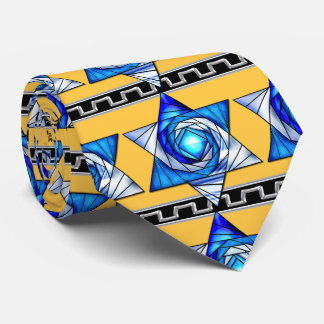 Stained Glass Art Deco Magen David v2 Neck Tie