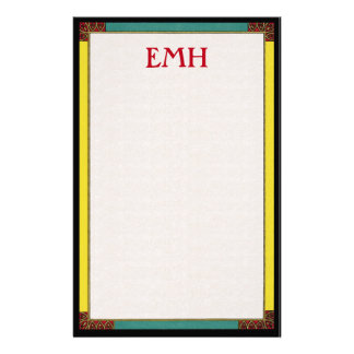 Stained Glass Asymmetrical Bordered Stationery