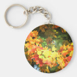 Stained Glass Autumn Maple Leaves Orange Yellow Basic Round Button Keychain