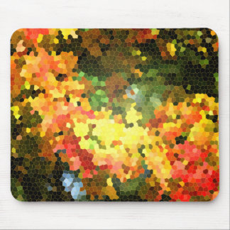 Stained Glass Autumn Maple Leaves Orange Yellow Mouse Pad