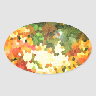 Stained Glass Autumn Maple Leaves Orange Yellow Oval Sticker