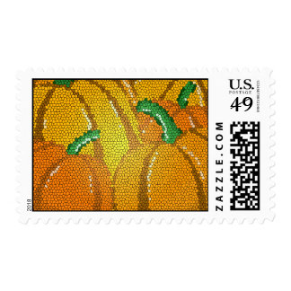 Stained Glass Autumn Pumpkins Postage