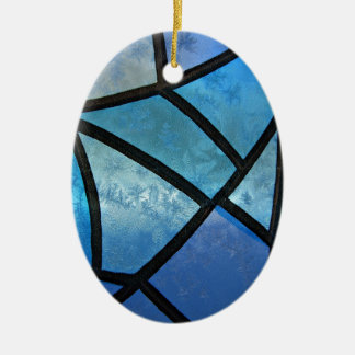 Stained glass background with ice flowers ceramic ornament