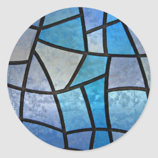 Stained glass background with ice flowers classic round sticker