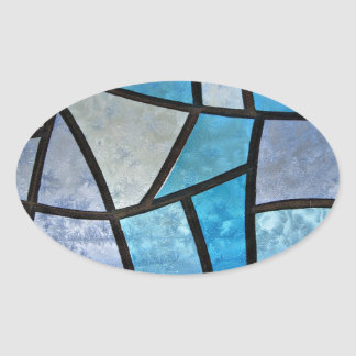 Stained glass background with ice flowers oval sticker