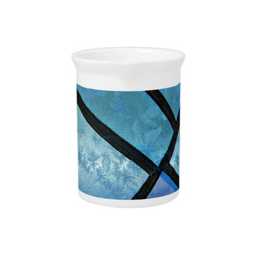 Stained glass background with ice flowers pitcher