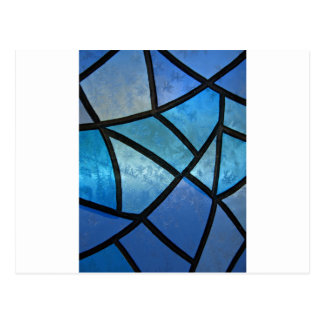 Stained glass background with ice flowers postcard