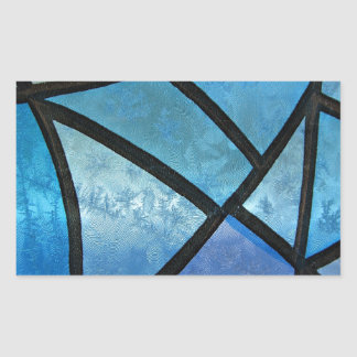 Stained glass background with ice flowers rectangular sticker