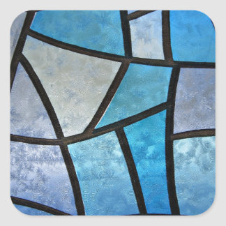 Stained glass background with ice flowers square sticker