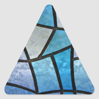 Stained glass background with ice flowers triangle sticker
