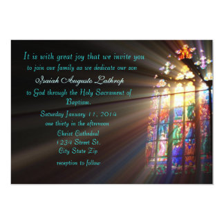 "Stained Glass Baptism Invitation/Announcement 5"" X 7"" Invitation Card"