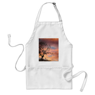Stained Glass Beautiful Sunset Tree Silhouette Adult Apron
